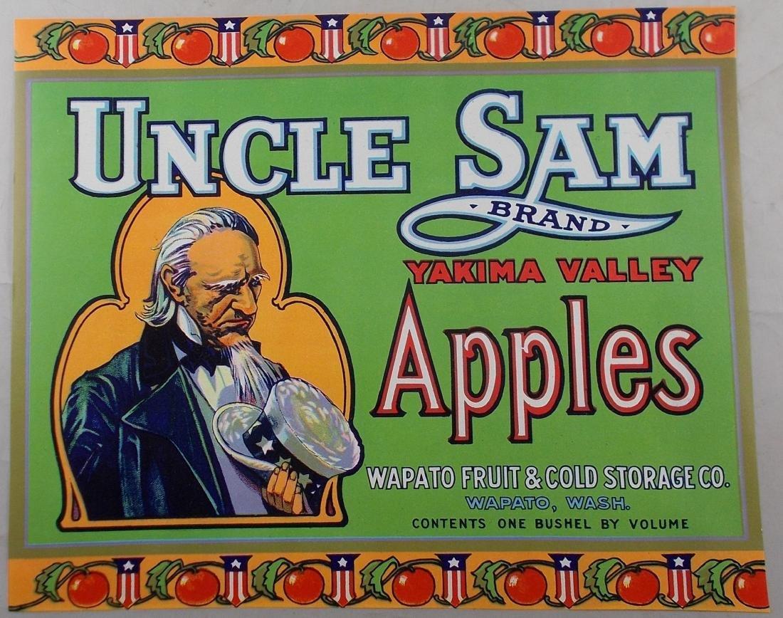 """Vintage 11"""" wide Uncle Sam Brand apple crate label."""