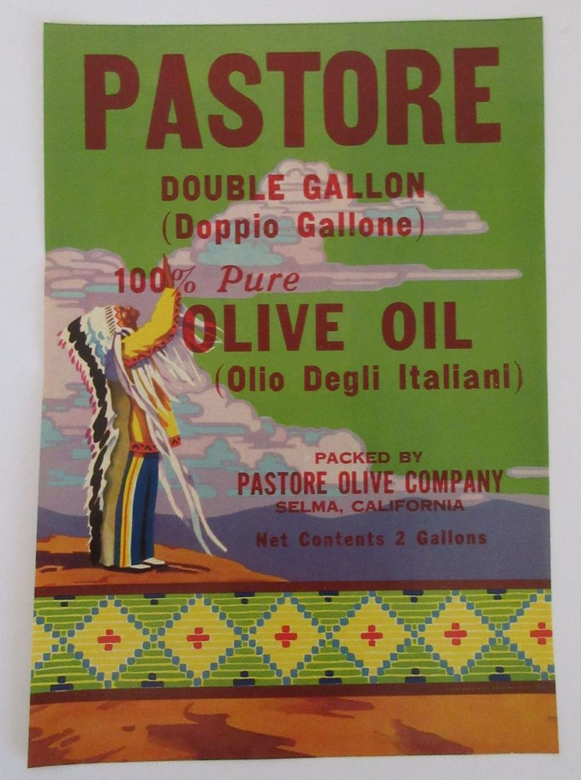 "Pastore Olive Oil Label with Indian. 10"" tall for 2"