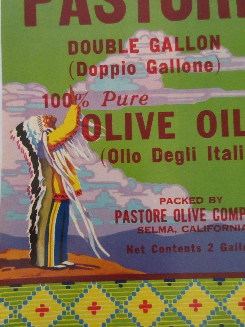 "Pastore Olive Oil Label with Indian. 10"" tall for 2 - 2"