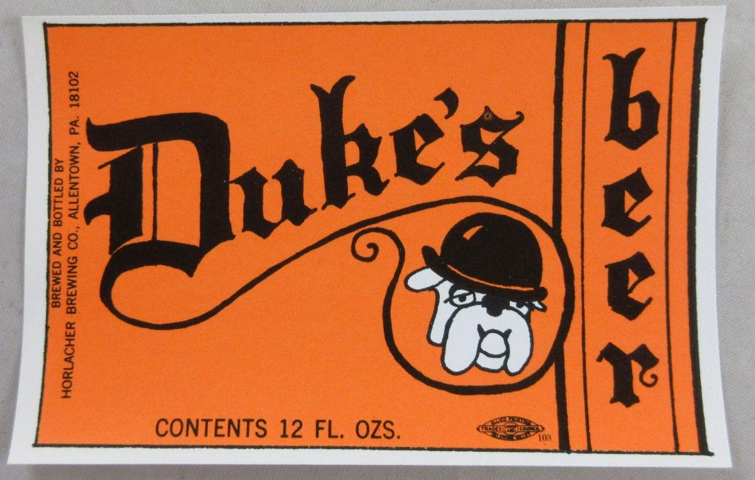 Duke's beer label with picture of a bulldog. c.1960s