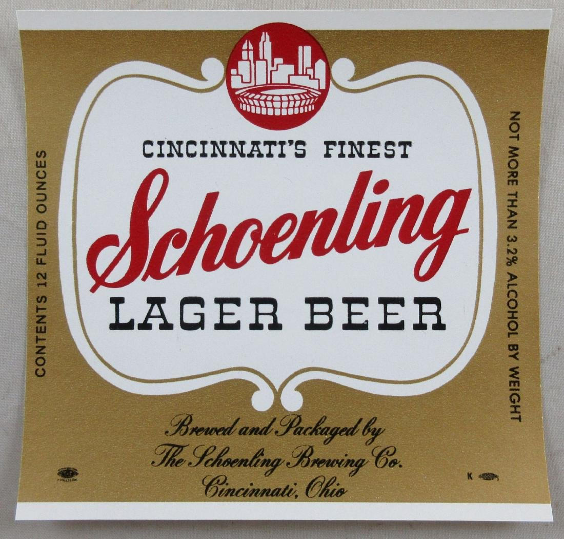 Schoenling Lager Beer Label. Features Cincinnati