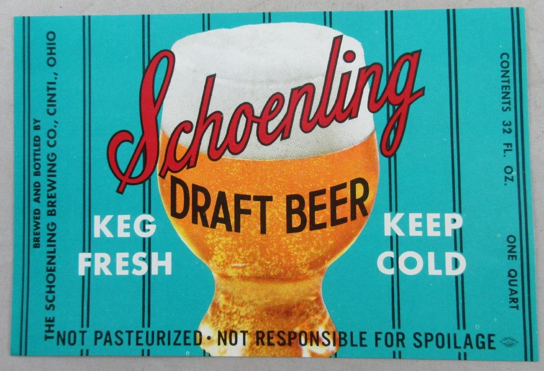 Schoenling Draft Beer Label. KEG FRESH KEEP COLD.