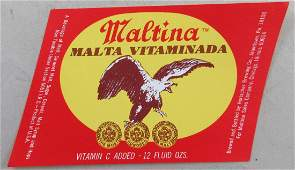Maltina Vitaminada Beer Label. Vitamin C Added. c.1960s