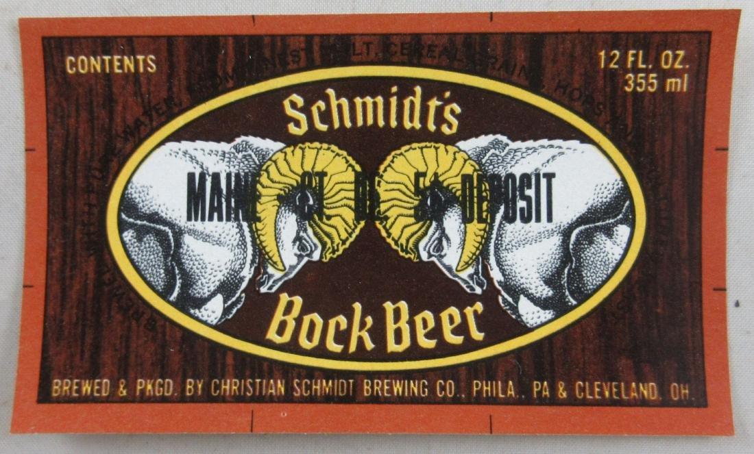 Schmidt's Bock Beer Label with Goat Heads Pictured.