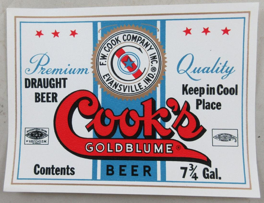 Cook's Goldblume Beer Label. c.1950s