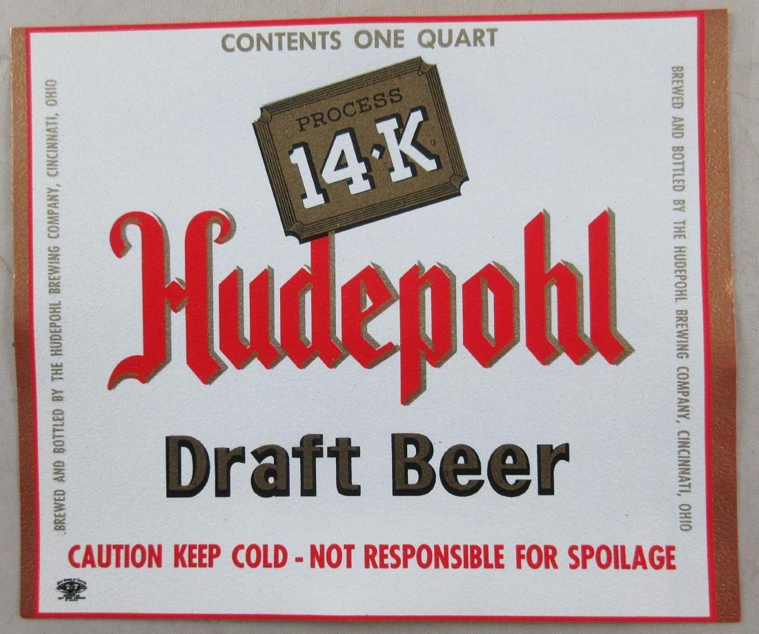 Hudepohl 14-K Draft Beer Label – One Quart.