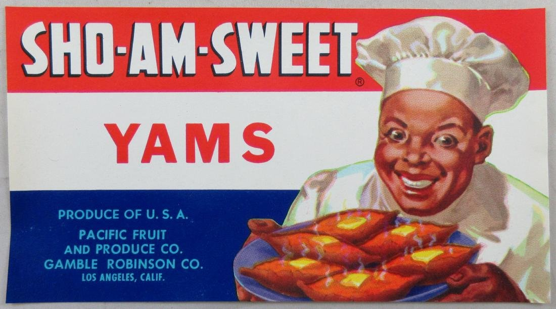 """SHO-AM-SWEET Yams Can Label. 7"""". c.1940s"""
