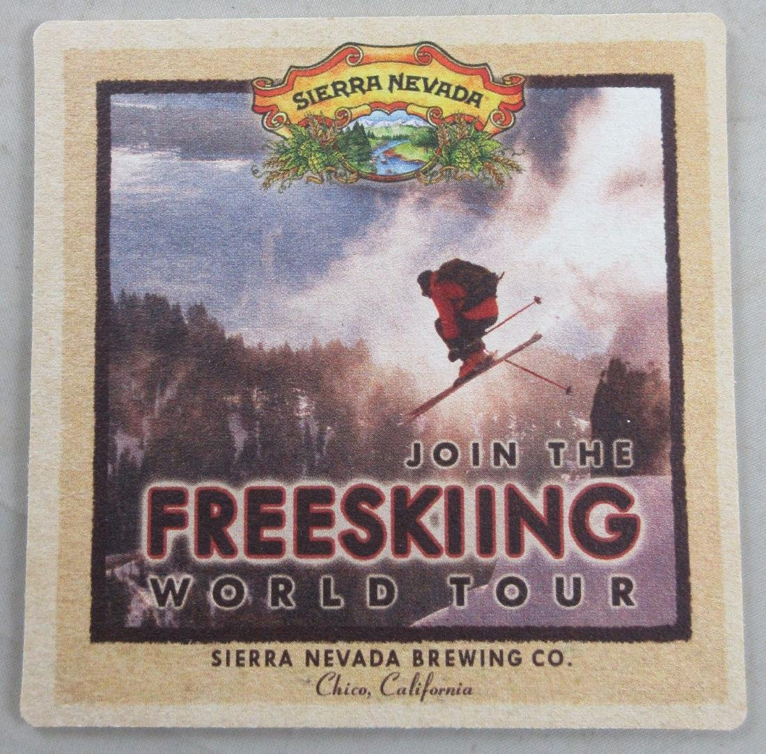 Sierra Nevada Beer Coaster Advertising the Freeskiing
