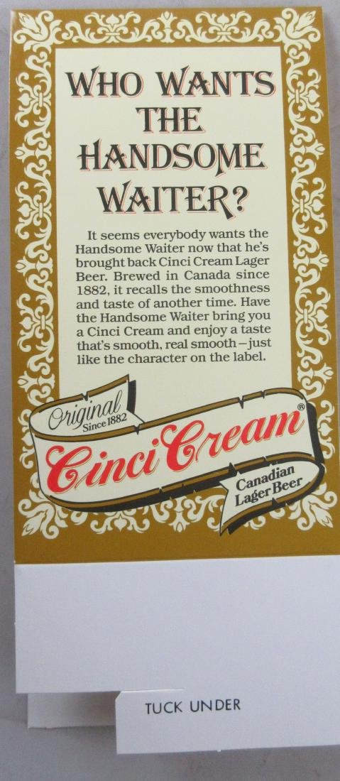 Cinci Cream Beer Advertising table Topper Tent. - 2