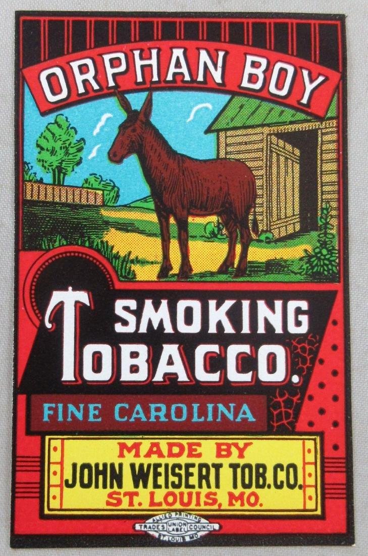 """Orphan Boy Tobacco Cloth Sack Label. 2-1/2"""" tall."""