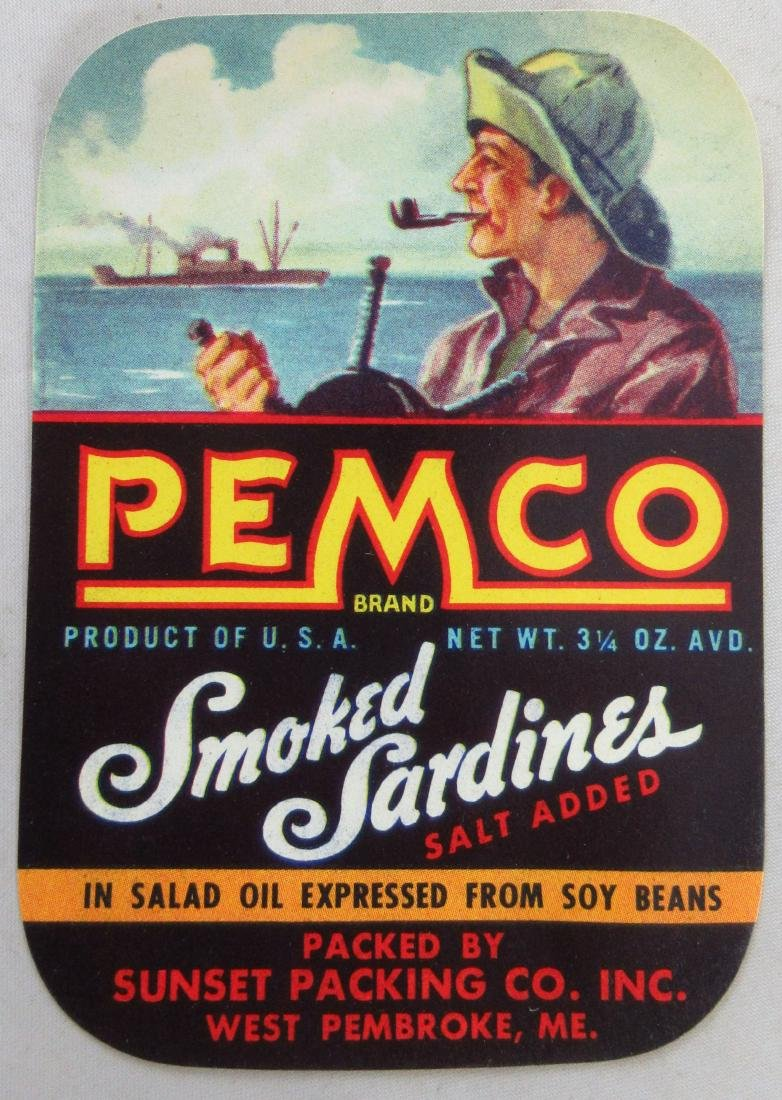 Pemco Sardines Label featuring fisherman. c.1940