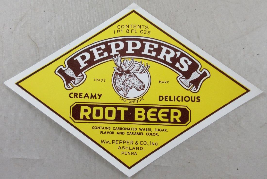"Pepper's Root Beer Bottle Label with Moose. 6"" wide."