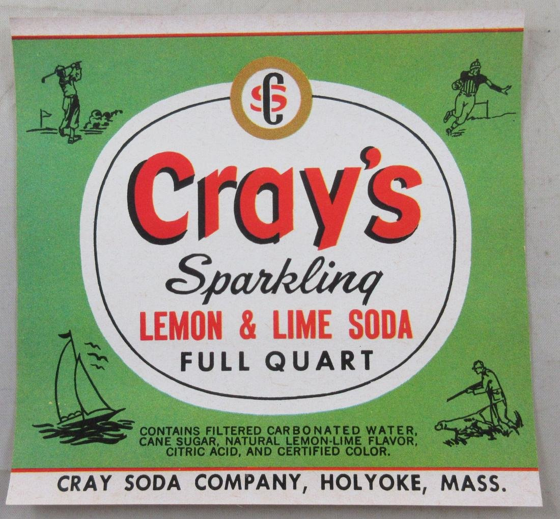 "Cray's Sparkling Lemon & Lime Soda Bottle Label 4-1/4""."