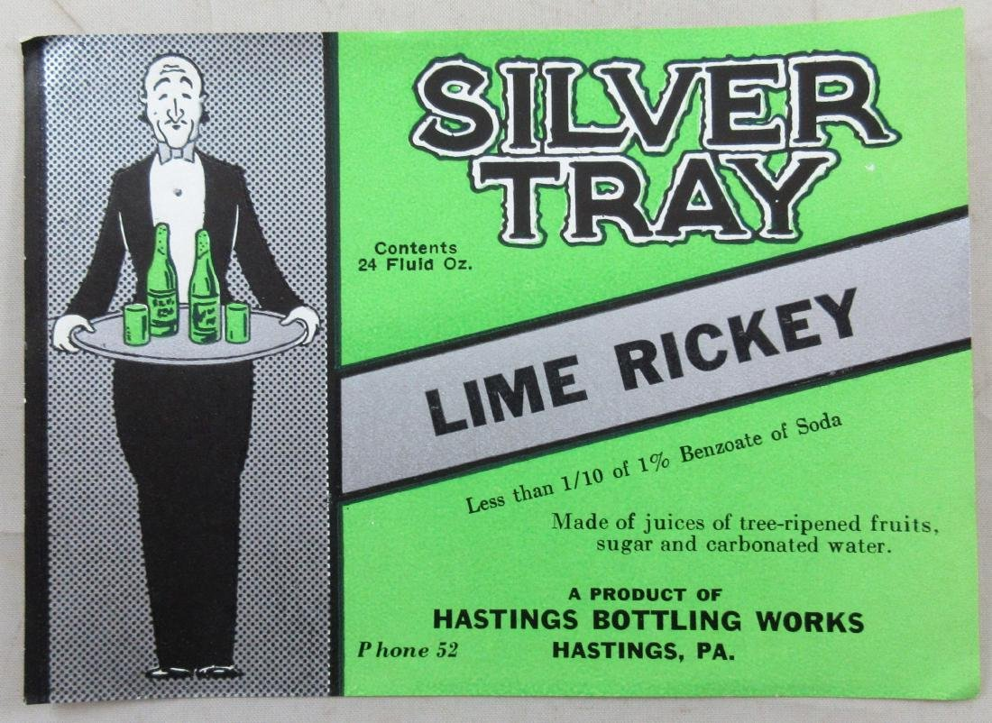 "Silver Tray Lime Rickey Label 5"" wide. c.1930s."