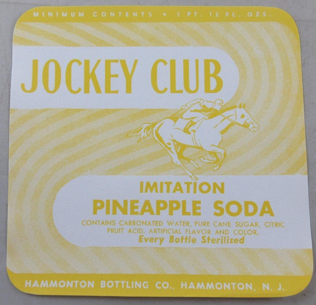 """Jockey Club Pineapple Soda Bottle Label 4-1/2"""" wide."""