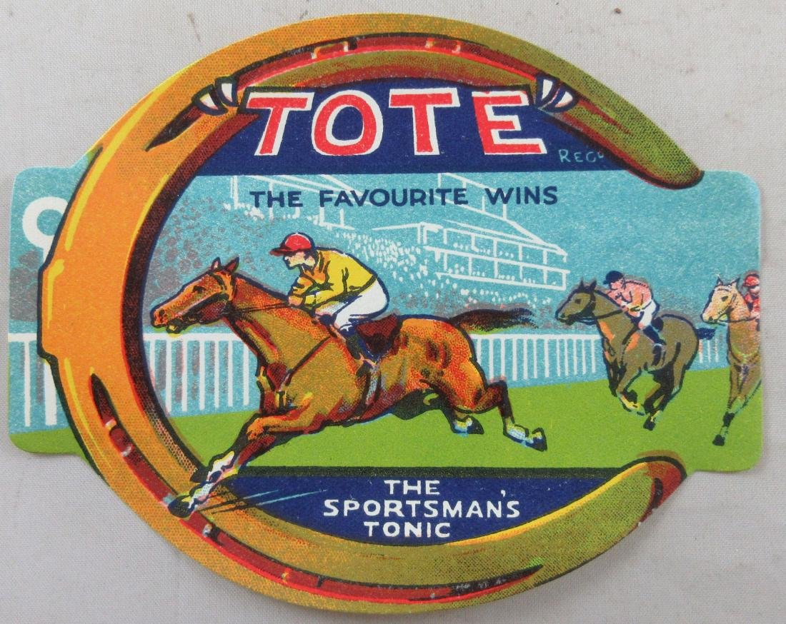 Tote Sportsman's Tonic Label featuring horse racing