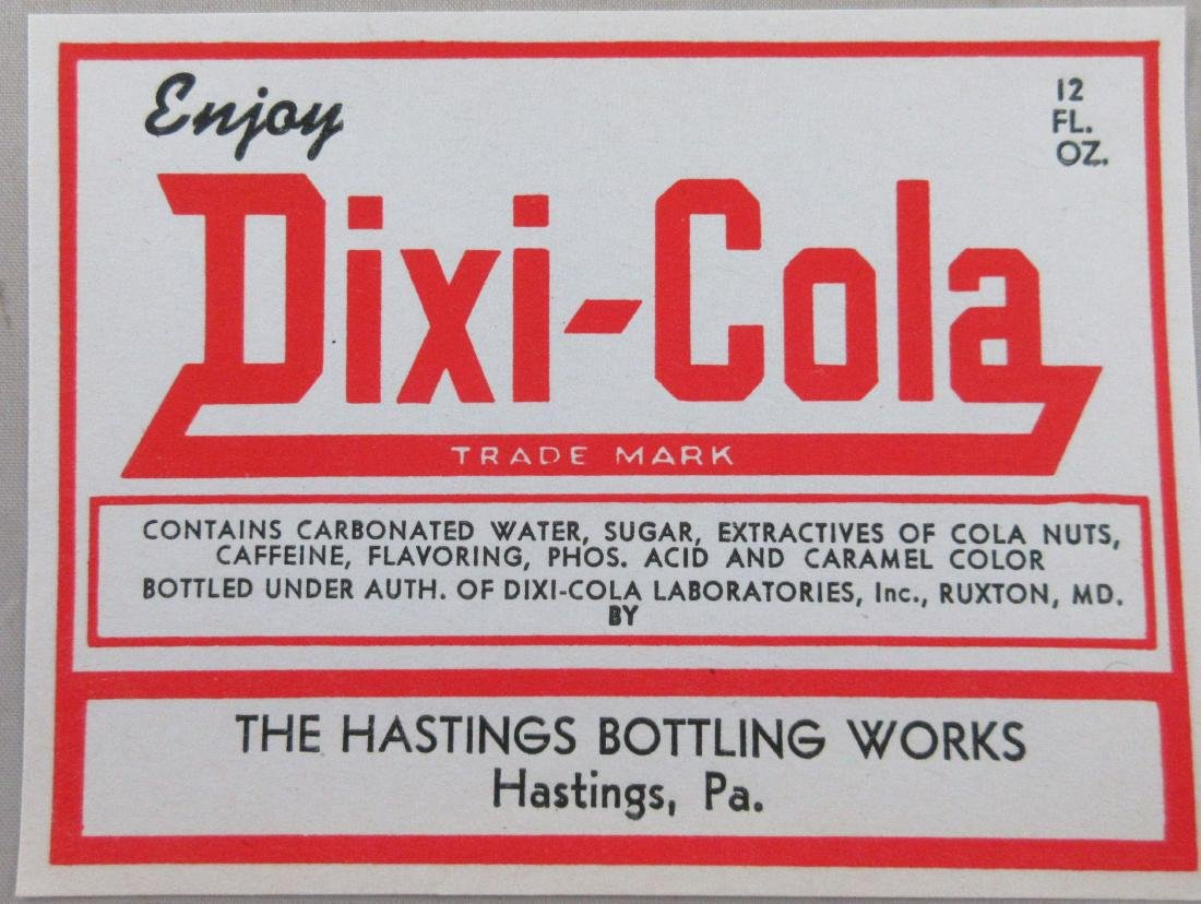 "Dixi-Cola Soda Bottle Label 4"" wide. c.1930s"
