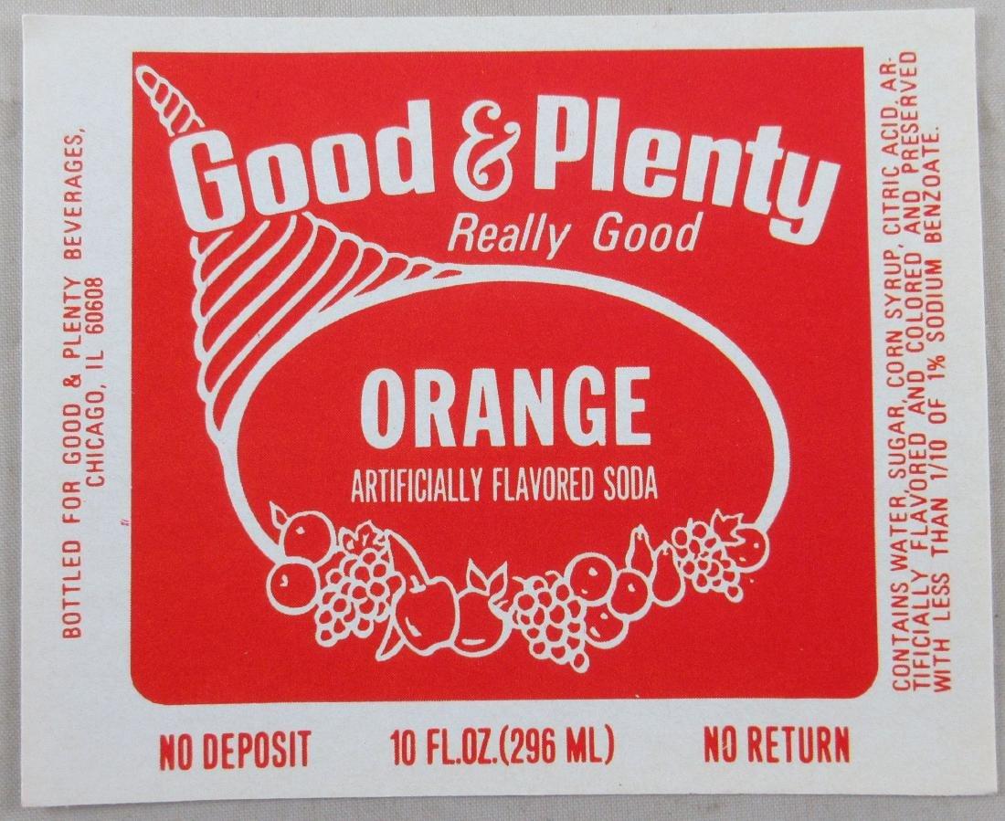 "Good & Plenty Orange Soda Bottle Label 3-1/2"" wide."