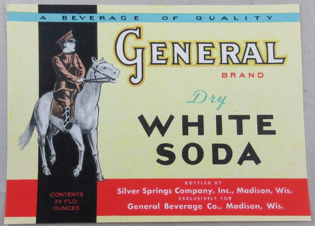 "General Brand Dry White Soda Bottle Label 4-5/8"" wide."