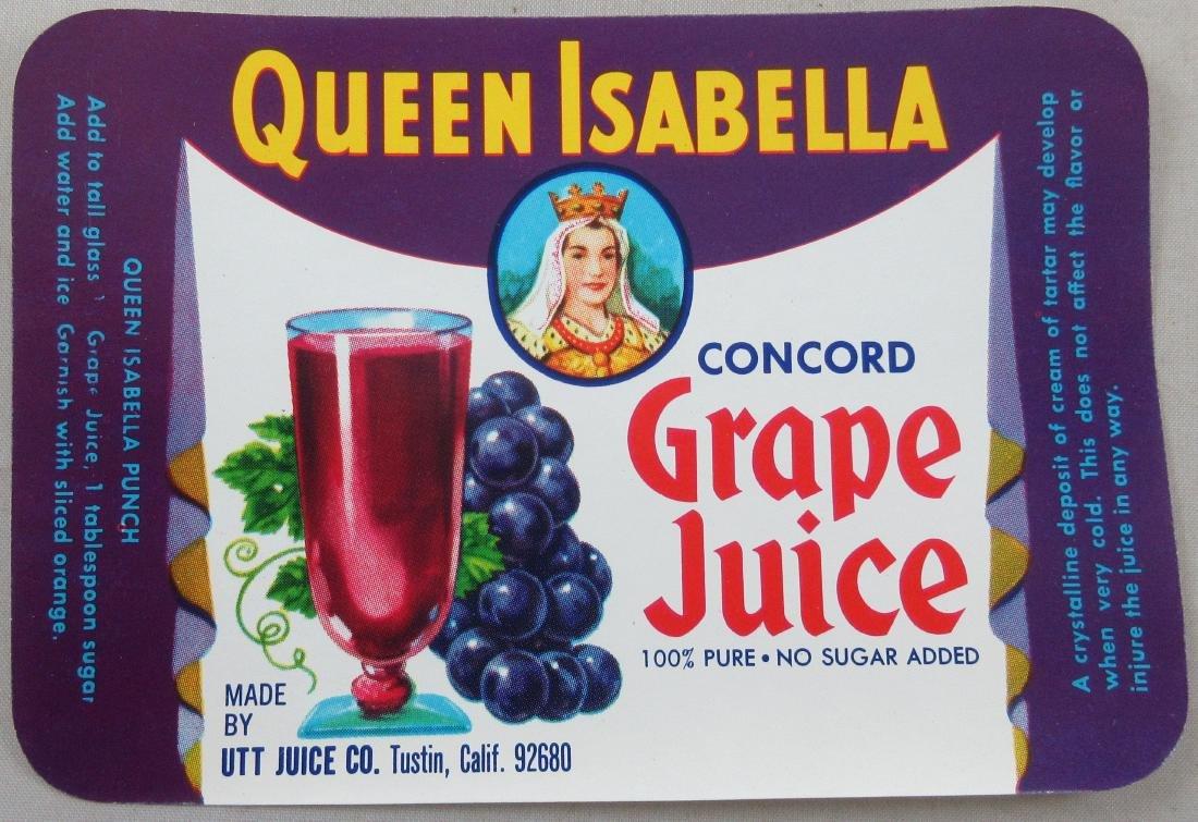 """Queen Isabella Grape Juice Label 4-1/2"""" wide. c.1960s"""