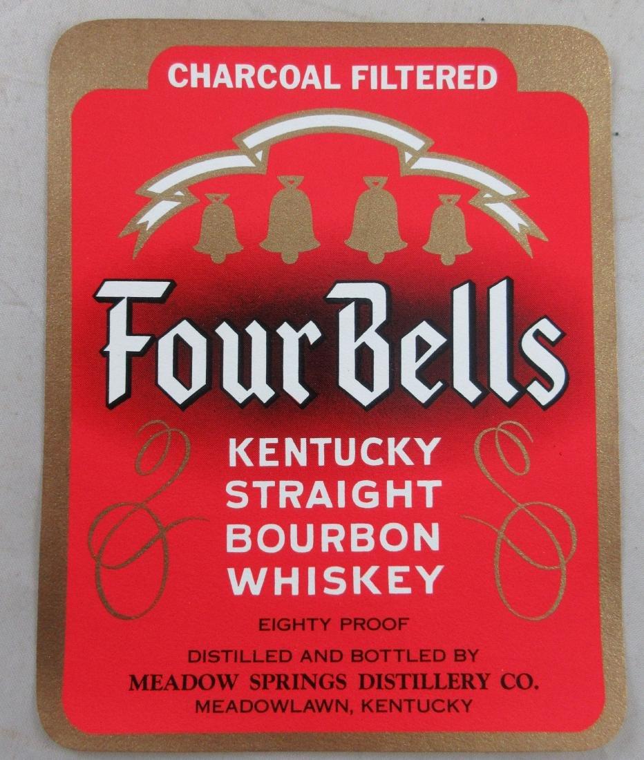 """Four Bells Kentucky Bourbon Whiskey Label. 4-1/2"""" tall."""