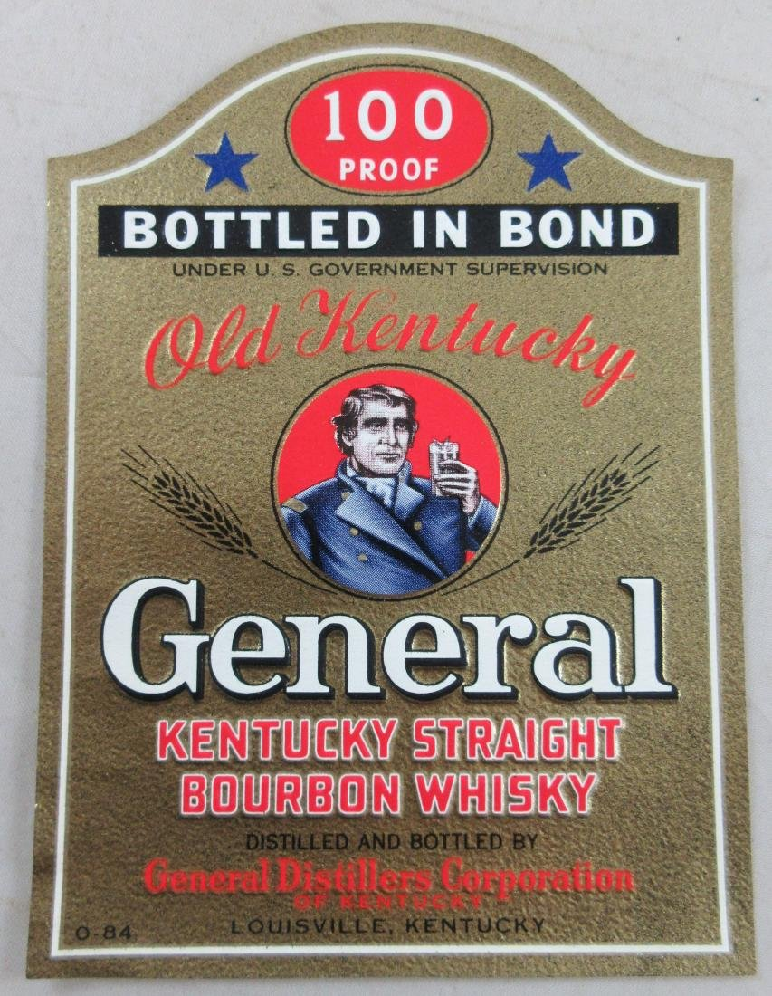 """Old Kentucky General Whiskey Label 4-1/2"""" tall. c.1940s"""
