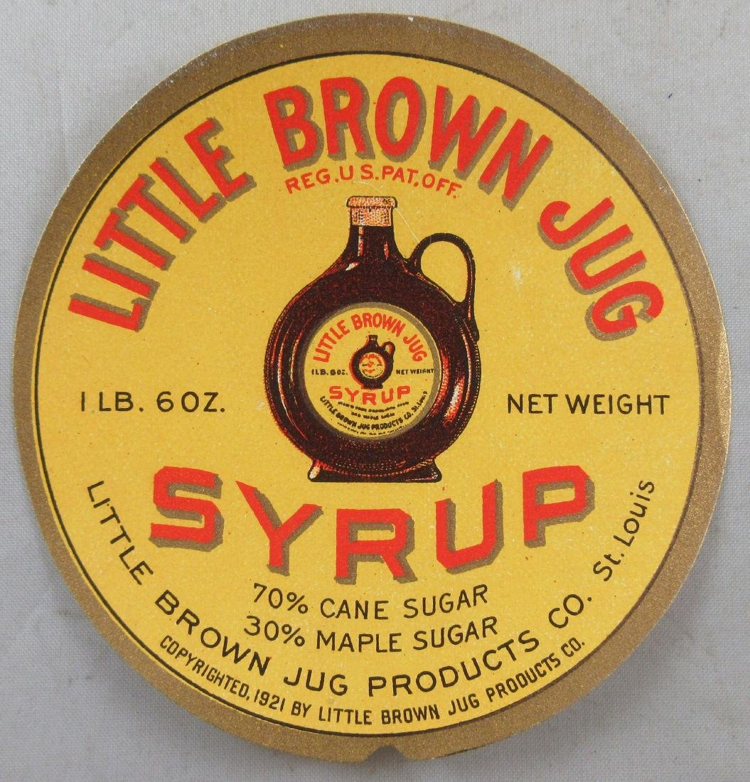 """Little Brown Jug Syrup Label. 3"""". Dated 1921"""