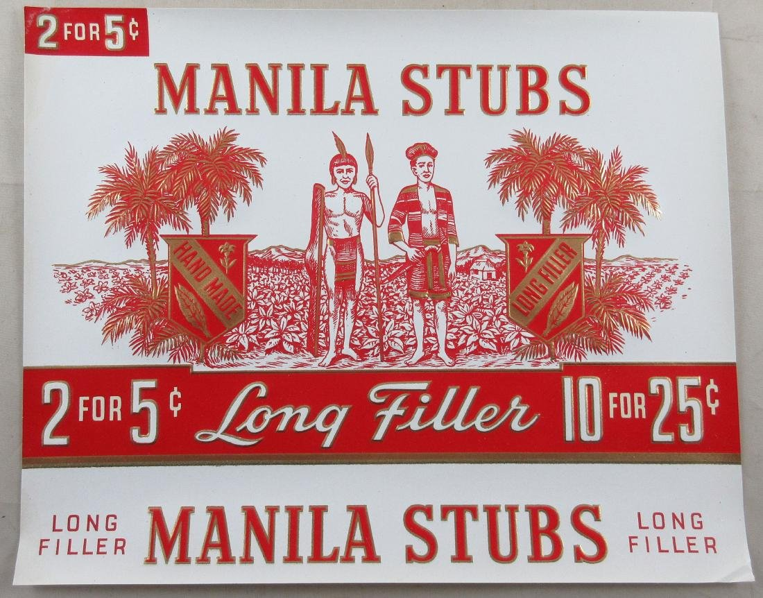 "Manila Stubs Cigar Box Label. 8-3/4"" wide. c.1920s."