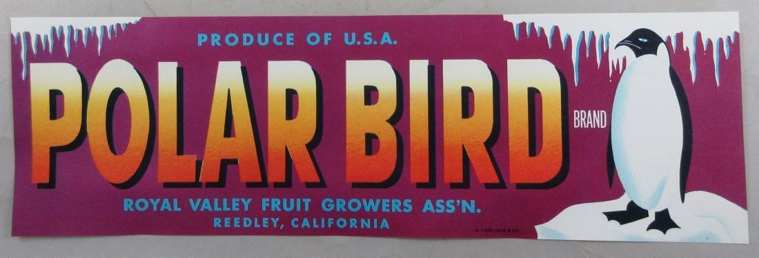 "Polar Bird Grape Crate Label 13"" long. c.1950s"