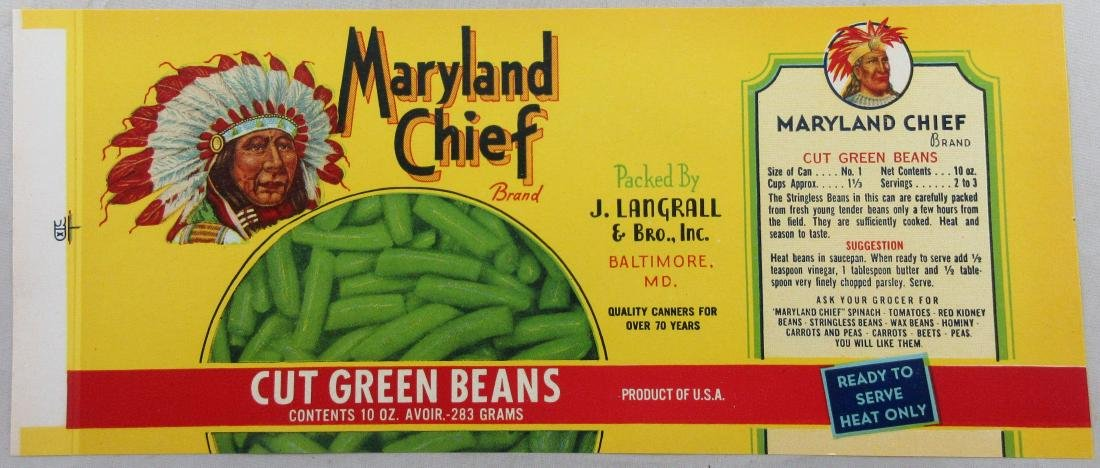"""Maryland Chief Cut Green Bean Can Label 8-3/4"""" wide."""