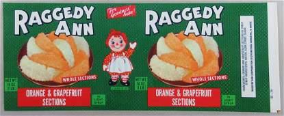 "Vintage 10 1/2"" wide Raggedy Ann can label."
