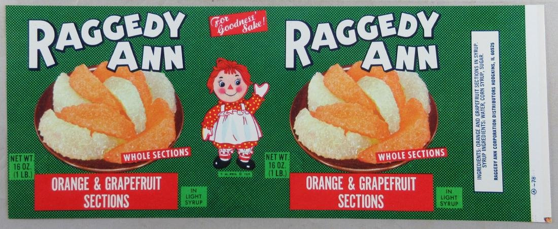 "Vintage 10 1/2"" wide Raggedy Ann can label."