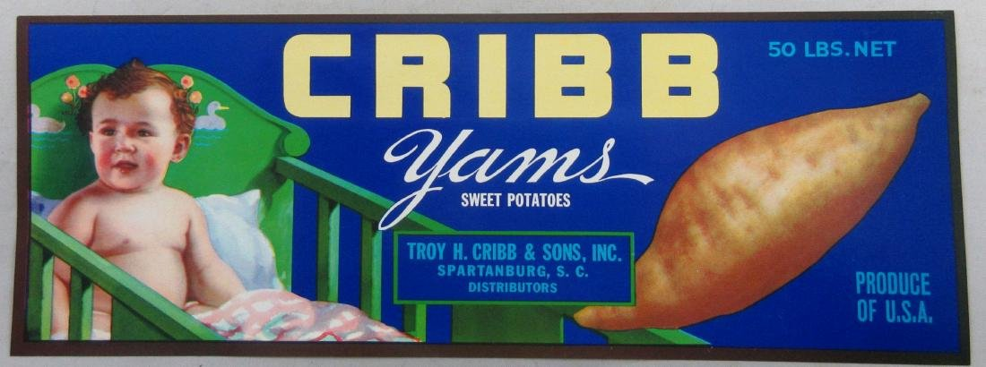 "Cribb Yams Sweet Potatoes crate label. 11"" wide circa"