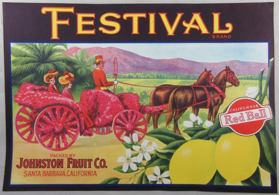 """Festival Lemon Crate Label 8-3/4"""" x 12-1/2"""" c.1930s"""