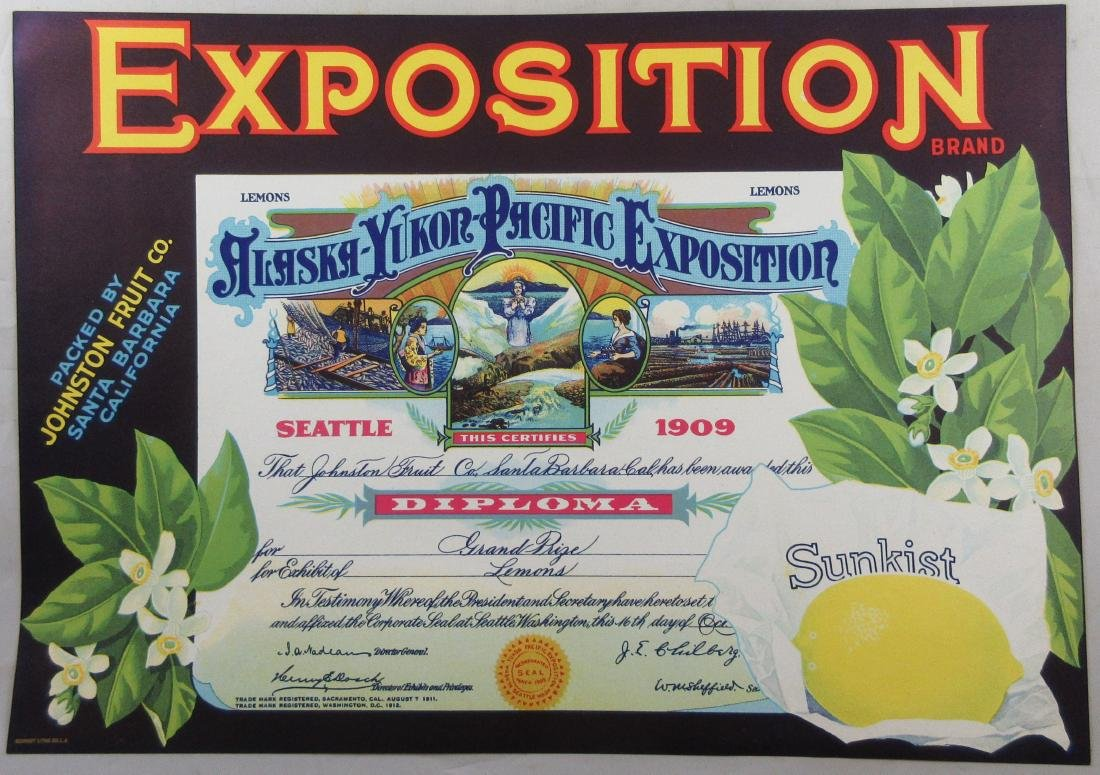 "Sunkist Alaska Exposition Lemon Crate Label 8-3/4"" x"