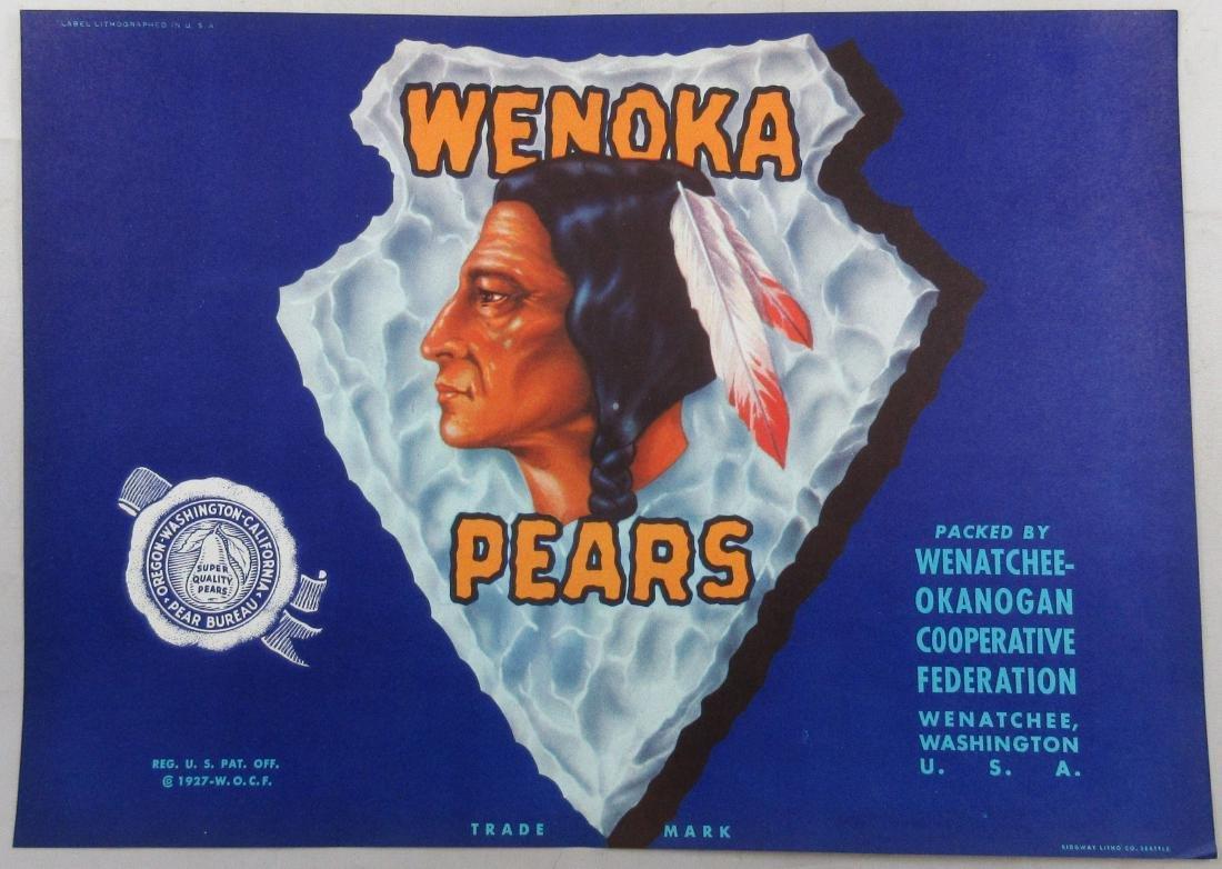 "Wenoka Pears Crate Label – Indian on Arrowhead. 7-1/4"""