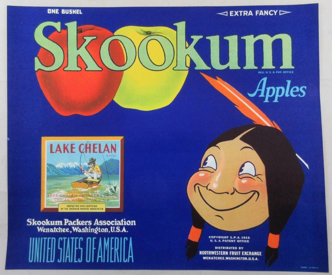 """Skookum Apple Crate Label 8-3/4"""" x 10-1/2"""" c.1940s"""