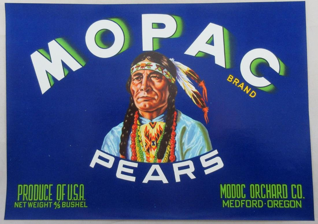 "Mopac Pears Crate Label 7-1/2"" x 10-1/2"" c.1940s."