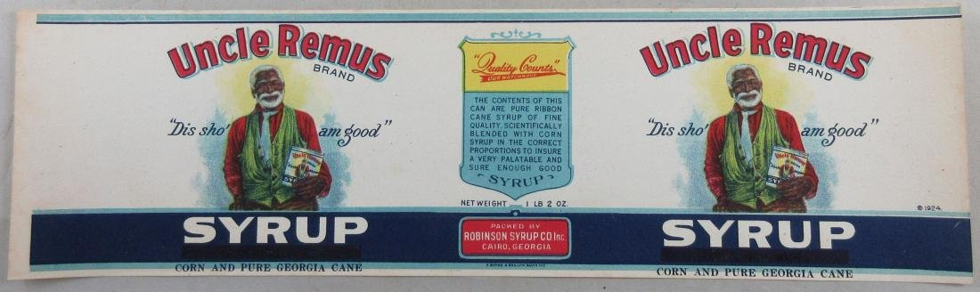 """Uncle Remus Cane and Corn Syrup Label - """"Dis Sho' am"""