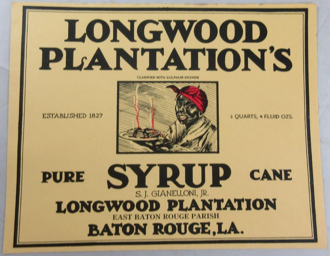 """Scarce Large Size Longwood Plantation Syrup Label. 6.5"""""""