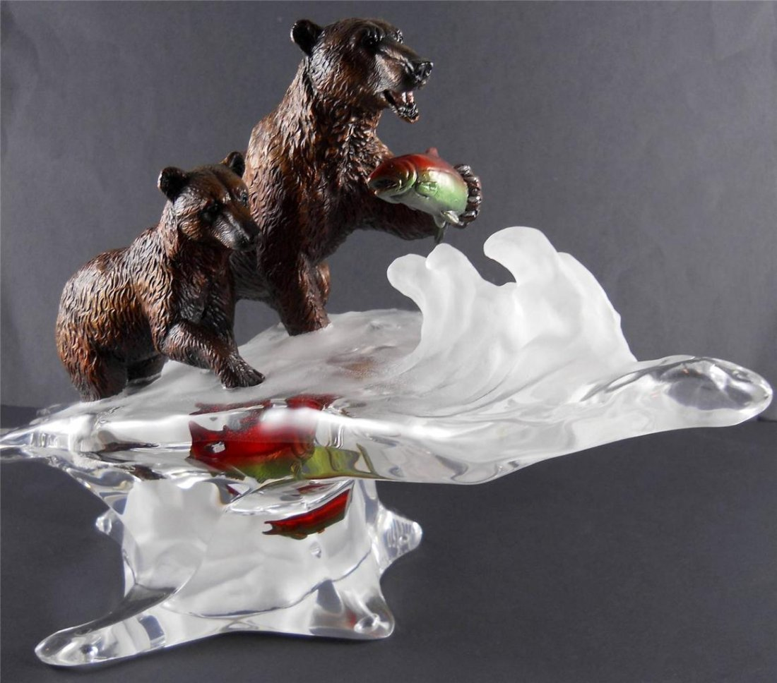 STARLITE STUDIO Sculpture Bear & Cub. Artist Kitty