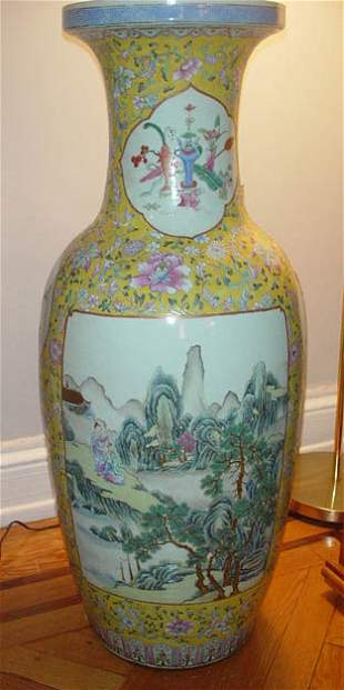 001: Yellow Porcelain Chia Ching Palace Vase. Exception