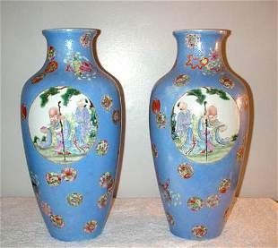 003: Pair of Robin Egg Blue Graviatti Porcelain Vases w