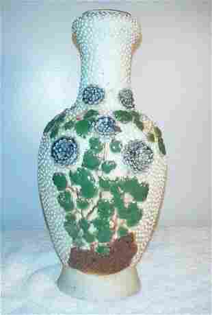 007: Beige Low Relief Vase with leaves and flowers (173