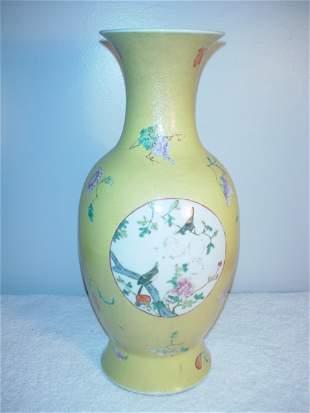 011: Large Yellow Graviatti Vase with birds on panel. 1