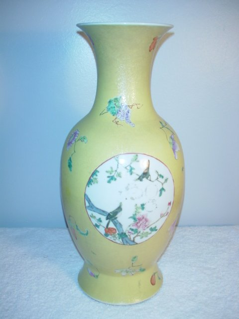011: Large Yellow Graviatti Vase with birds on panel. 1