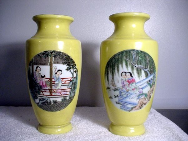 012: Pair of Yellow Vases with Women on Panels Chien Lu