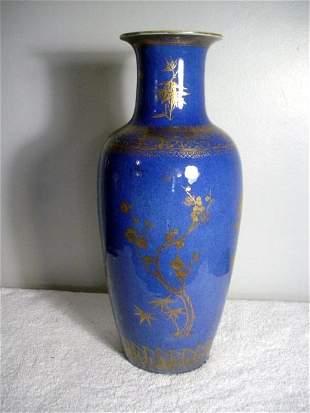 016: Cobalt Blue Porcelain Vase (1821-1850) with gold f