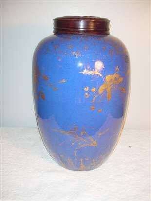 019: Cobalt Blue Jar 1821-1850. Gold floral design and