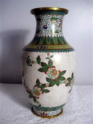 020: Green Cloisonne Floral Vase 1862-1874. Tung Chih,